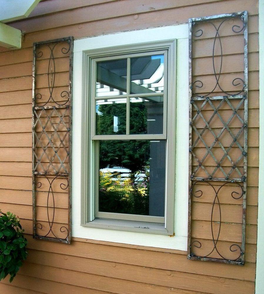 Wrought Iron Exterior Window Shutters Metal Wall Art Shutters