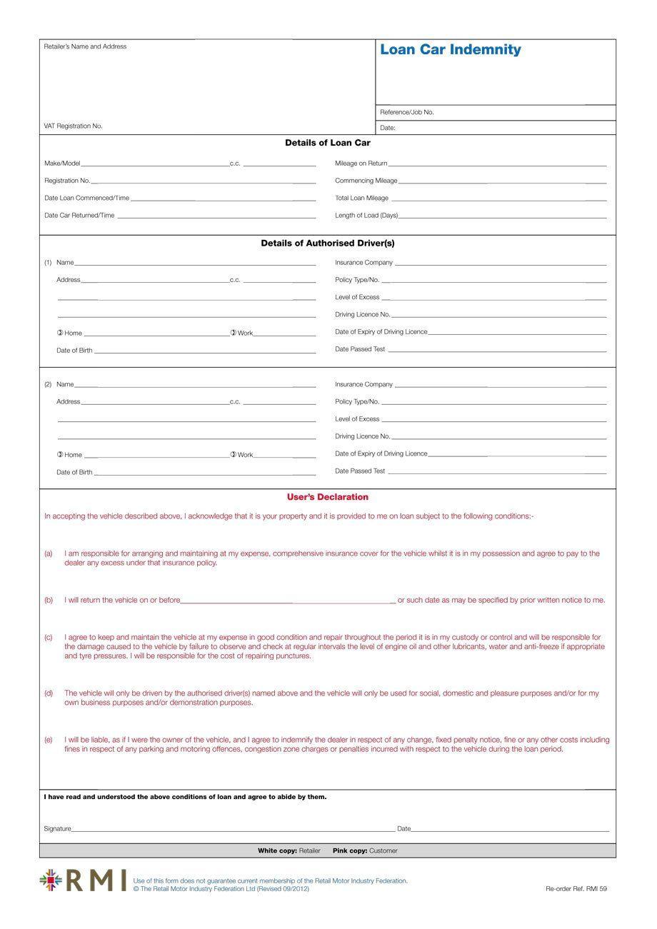 Car Loan Application Form Template Elegant Rmi059 Loan Car Indemnity Form Pad Rmi Webshop In 2020 Loan Application Car Loans Business Plan Template Pdf