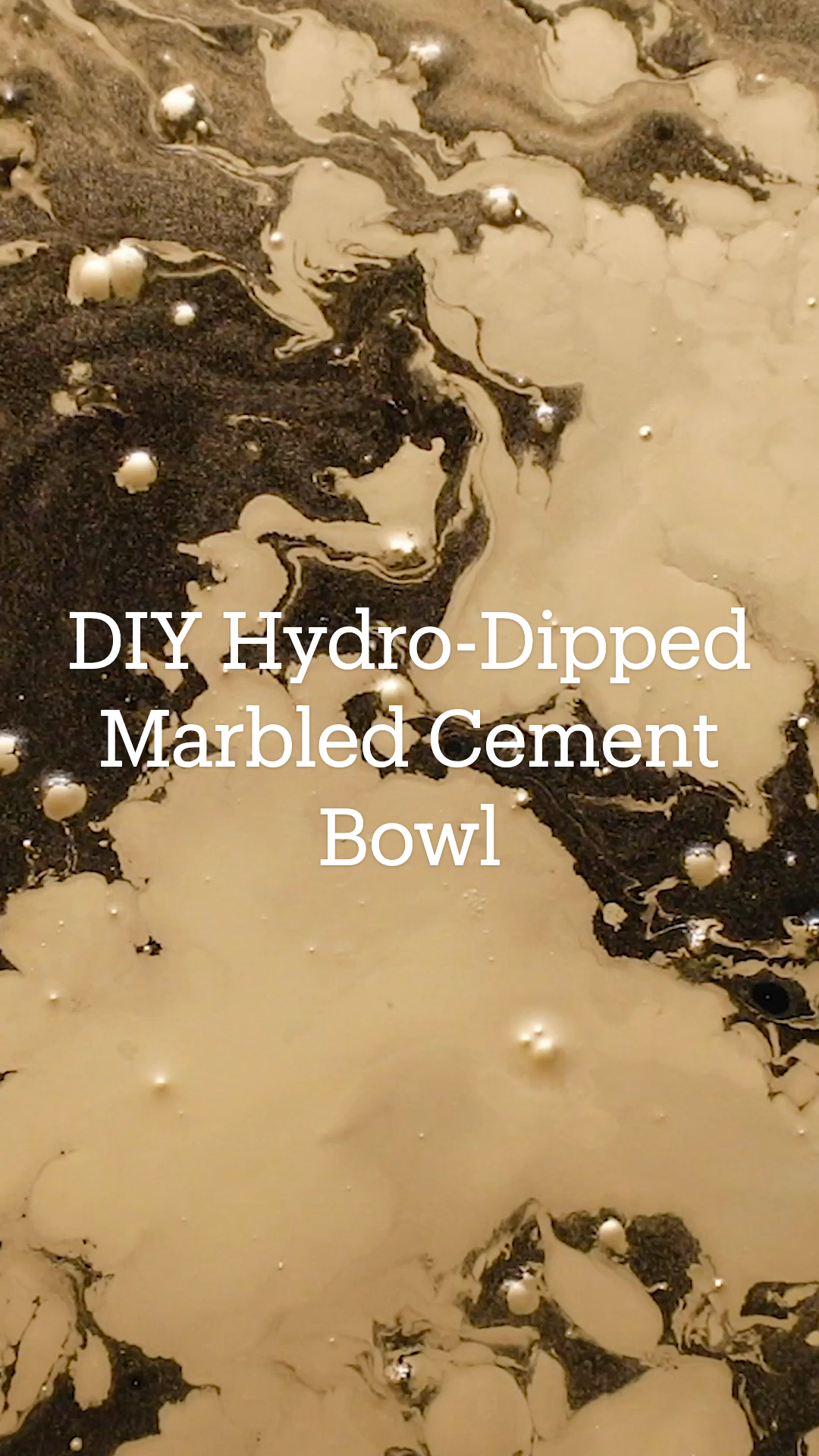 DIY Hydro-Dipped Marbled Cement Bowl