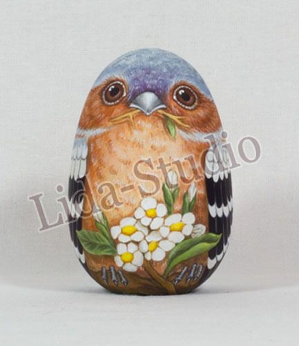 egg 6cm finch by lida studio artist m skorokhodova ebay hand painted wooden egg. Black Bedroom Furniture Sets. Home Design Ideas