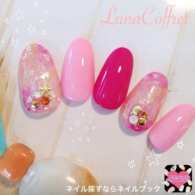 ネイル 画像 Luna Coffret 大森 896965 ピンク 夏 ソフトジェル