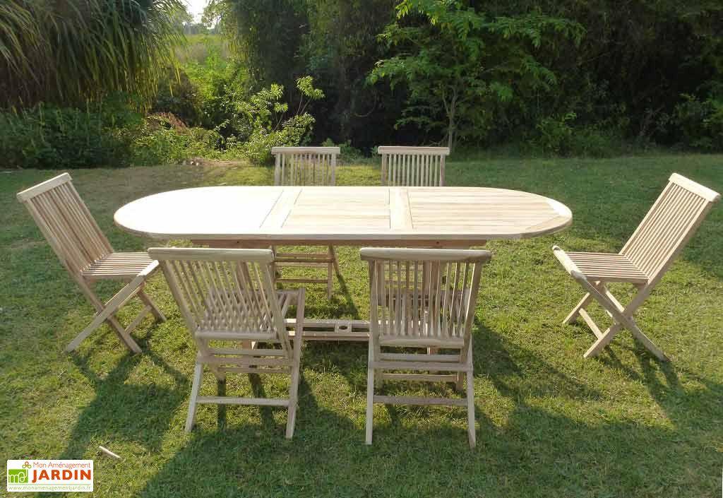 Salon de Jardin Bois Teck Table Extensible Ovale 230 cm + 6 chaises ...