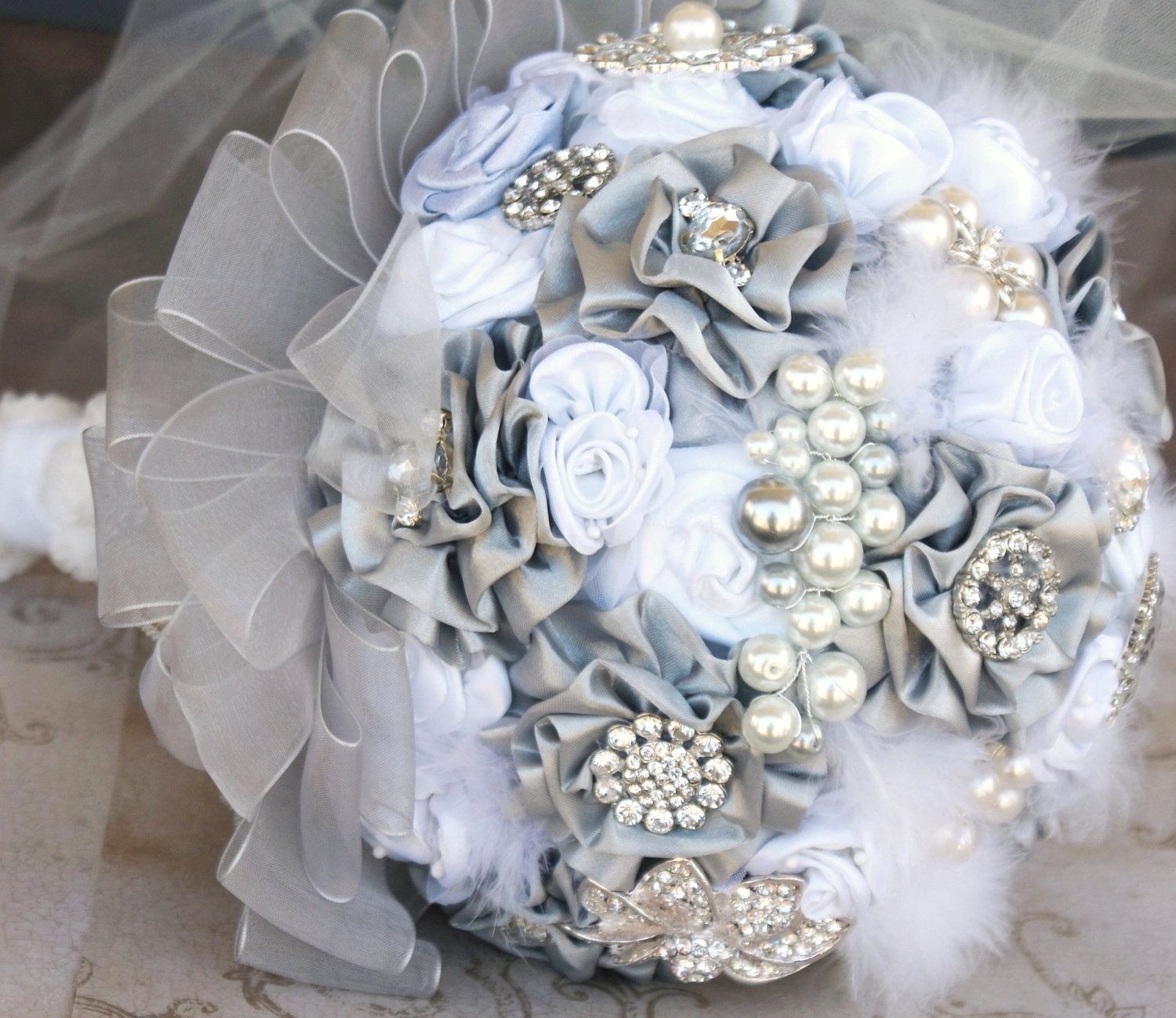 Brooch Bridal Bouquet Vintage Inspired Jeweled Bouquet in
