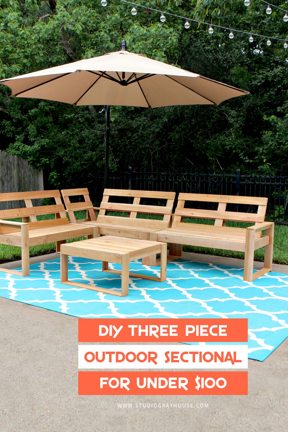 DIY Outdoor Sectional for Under $100 | Cedar fence pickets ...