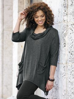 Knit Cowl Neck Tunic - View All Tops - Tops - Ulla Popken | Style ...