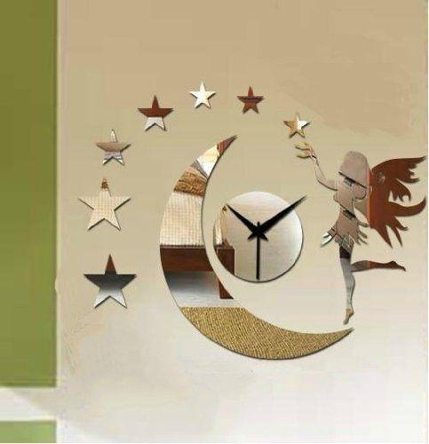 Star Mirror Wall Decor coavas®3d black fairy moon star wall clock modern mirror wall