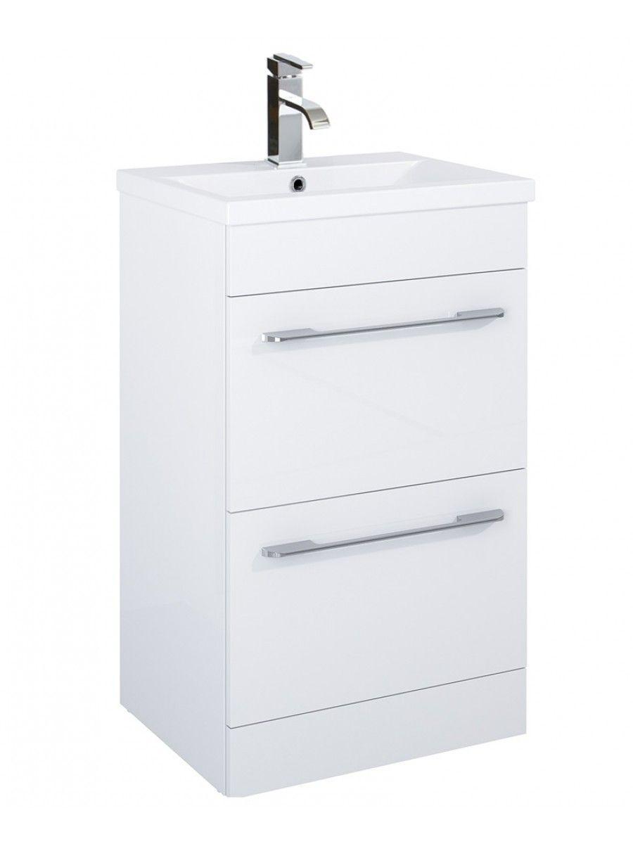 Carla 50cm Vanity Unit 2 Drawer White and Basin | Vanity units ...