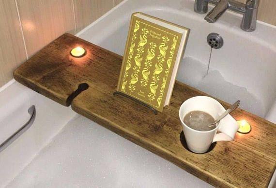 Birthday Gift - Bath Caddy Wood - Bath Caddy Tray - Bath Caddy Book ...