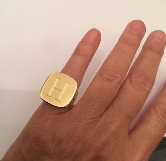 GOLD signet ring Pinky ring Engraved ring big rings by Limajewelry