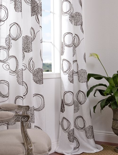2 for 1 Moderna White Crewel Embroidered Faux Linen 50X108 Curtains