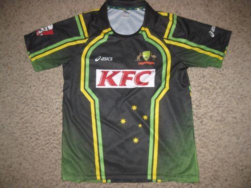 6753f54c Vintage Australia Kfc National Cricket Jersey L Team Asics Rare Mens Black  Retro