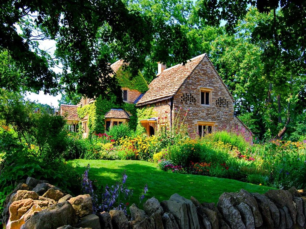 Houses beautiful countryside house grass forest stone for The cottage house