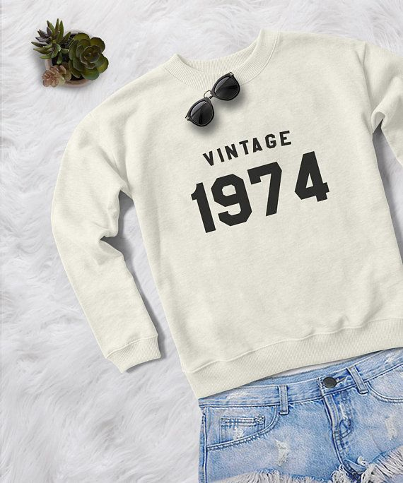 44th Birthday Shirt Gift For Her Crew Neck Sweatshirt Women Vintage 1974 Mother From Daug