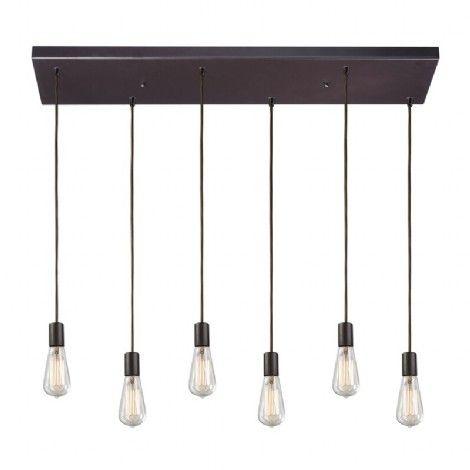 luminaire rectangle suspendu bronze de forme rectangle a six ampoules ajustables id al pour. Black Bedroom Furniture Sets. Home Design Ideas