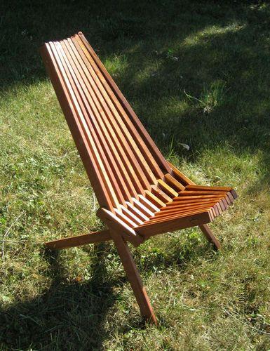 Retro Vtg Modern Danish Wooden Slat Chair Folding Mid