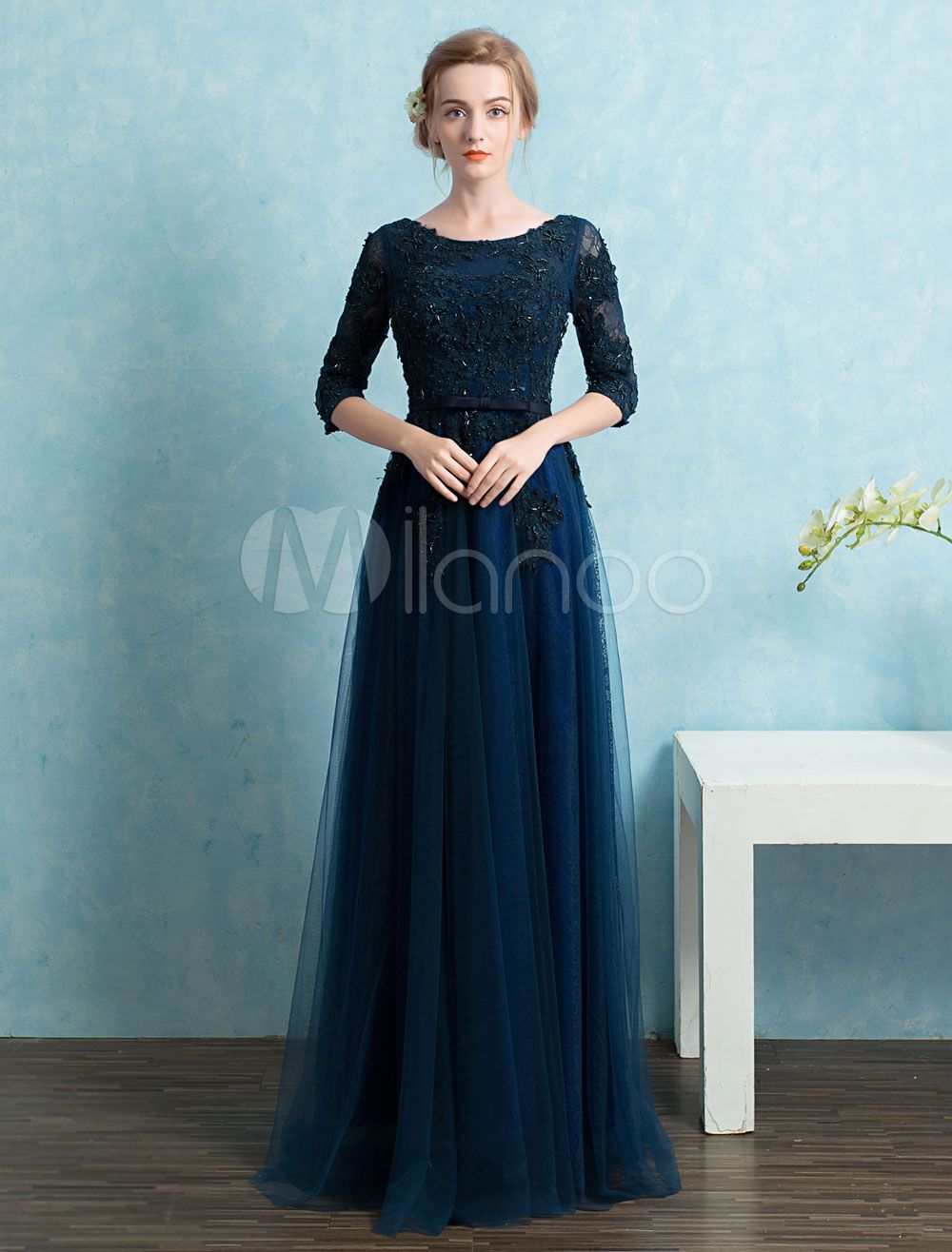 Lace Evening Dresses Tull A Line Floor Length Mother Of The Bride ...
