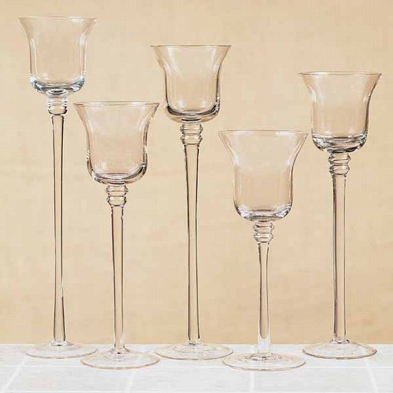 long stem floating candle holders set 5 flared stemmed clear glass votive candle holder. Black Bedroom Furniture Sets. Home Design Ideas