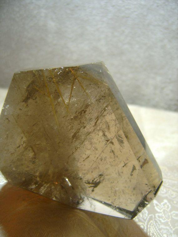 Polished Faced Rutilated Smokey Quartz crystal by MyRetroCharm, $97.75