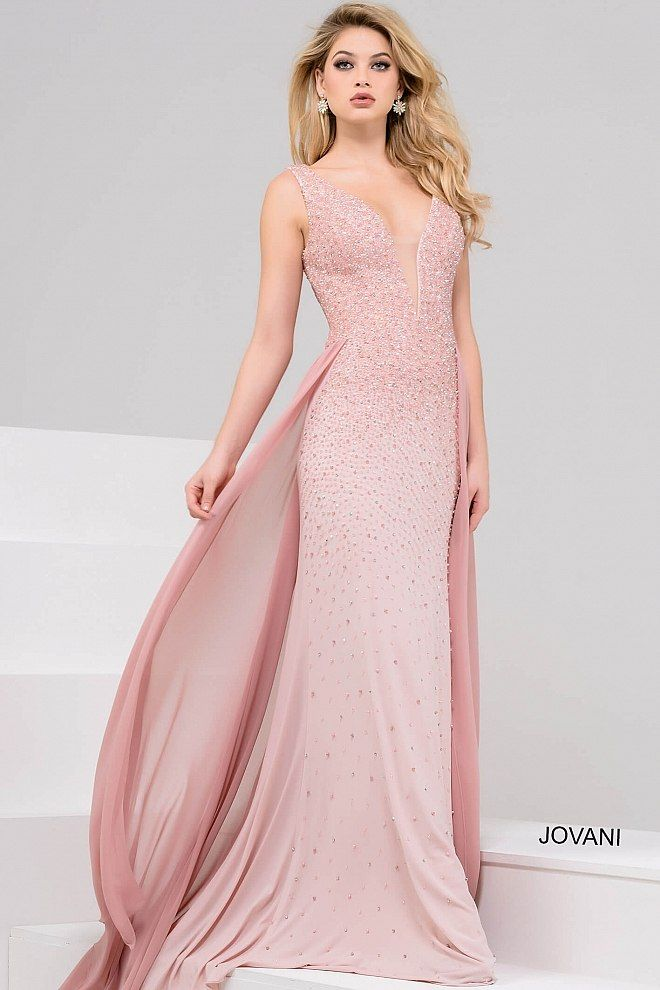 Blush Plunging Neckline Beaded Dress 48951 | vestidos | Pinterest ...