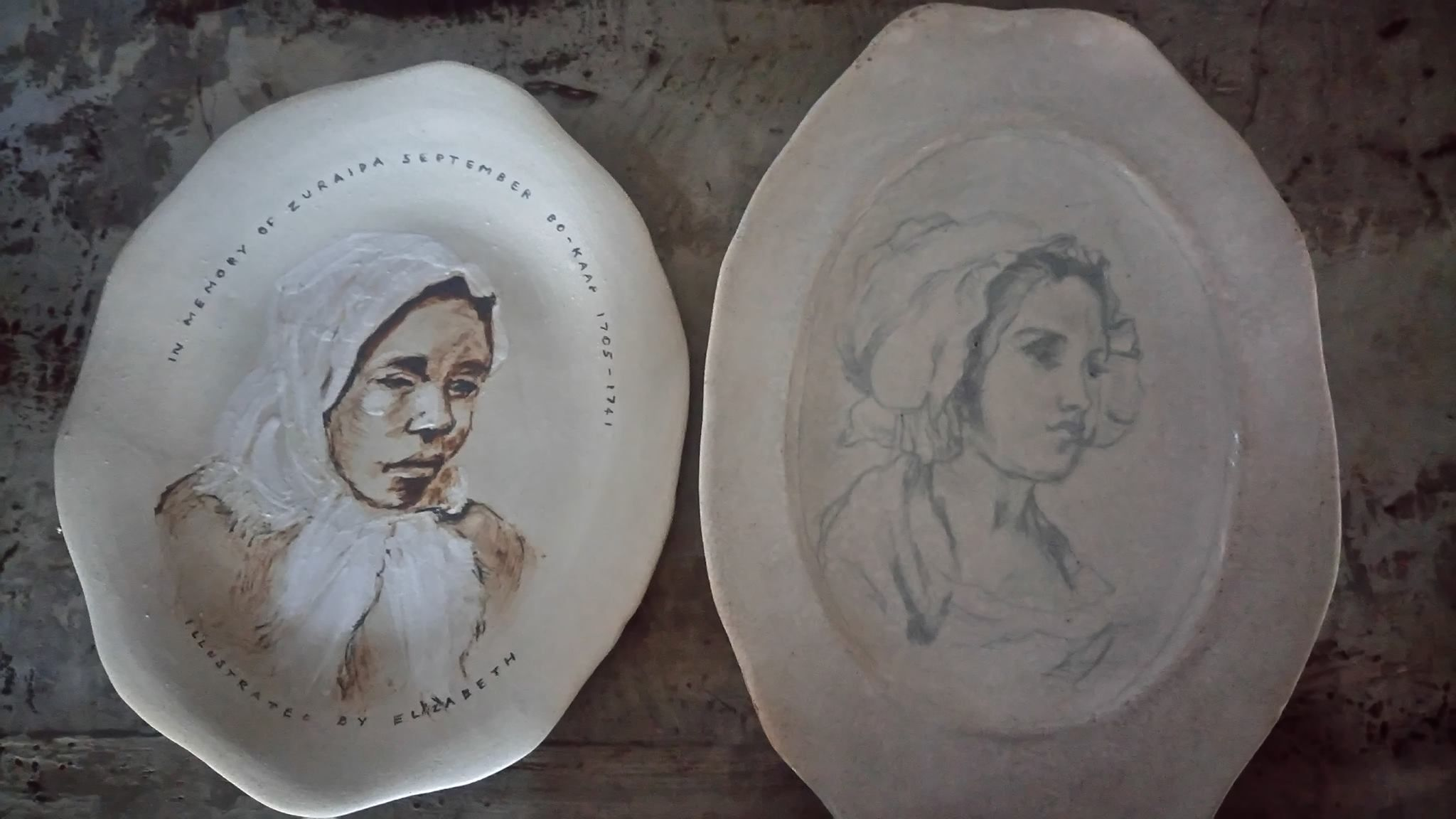 "no 1 and 2 in series of plates made and painted by Elizabeth Pulles. The theme is ""honouring the matriarchs living in the Cape during the influx of colonial groups."""