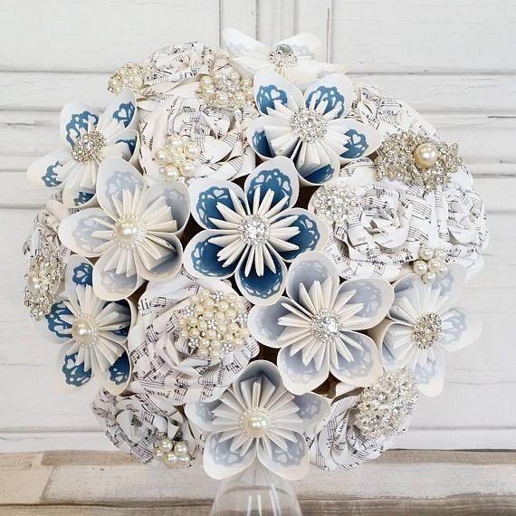 Paper Flower Wedding Bouquet Origami Kusudama Rose Vintage Lace Brooches Wedgwood Blue Cornflower Baby Sky