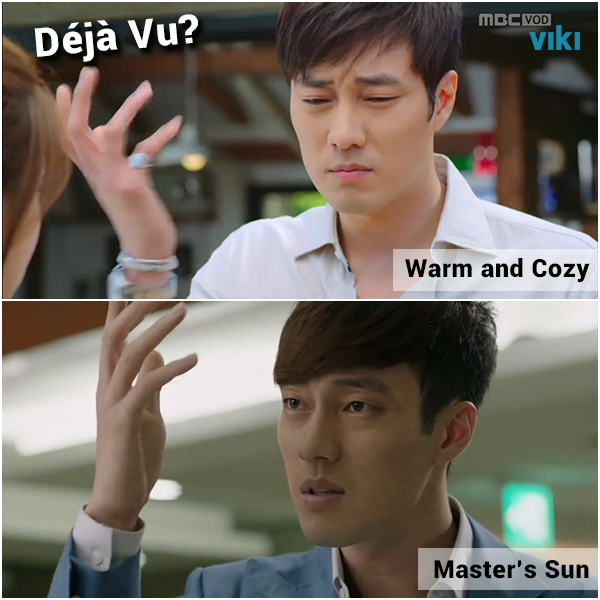Remember this? So Ji Sub cameos in Warm and Cozy & brings back his signature hand movement from Master's Sun!