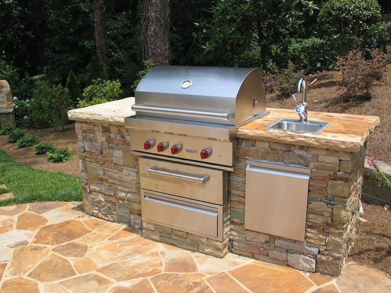 stacked stone grilling station with sink 2 outdoor