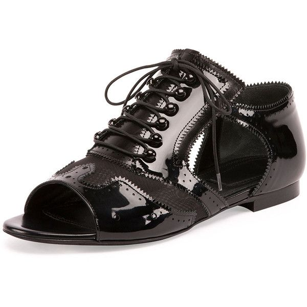 Givenchy Patent/Mesh Open-Toe Oxford