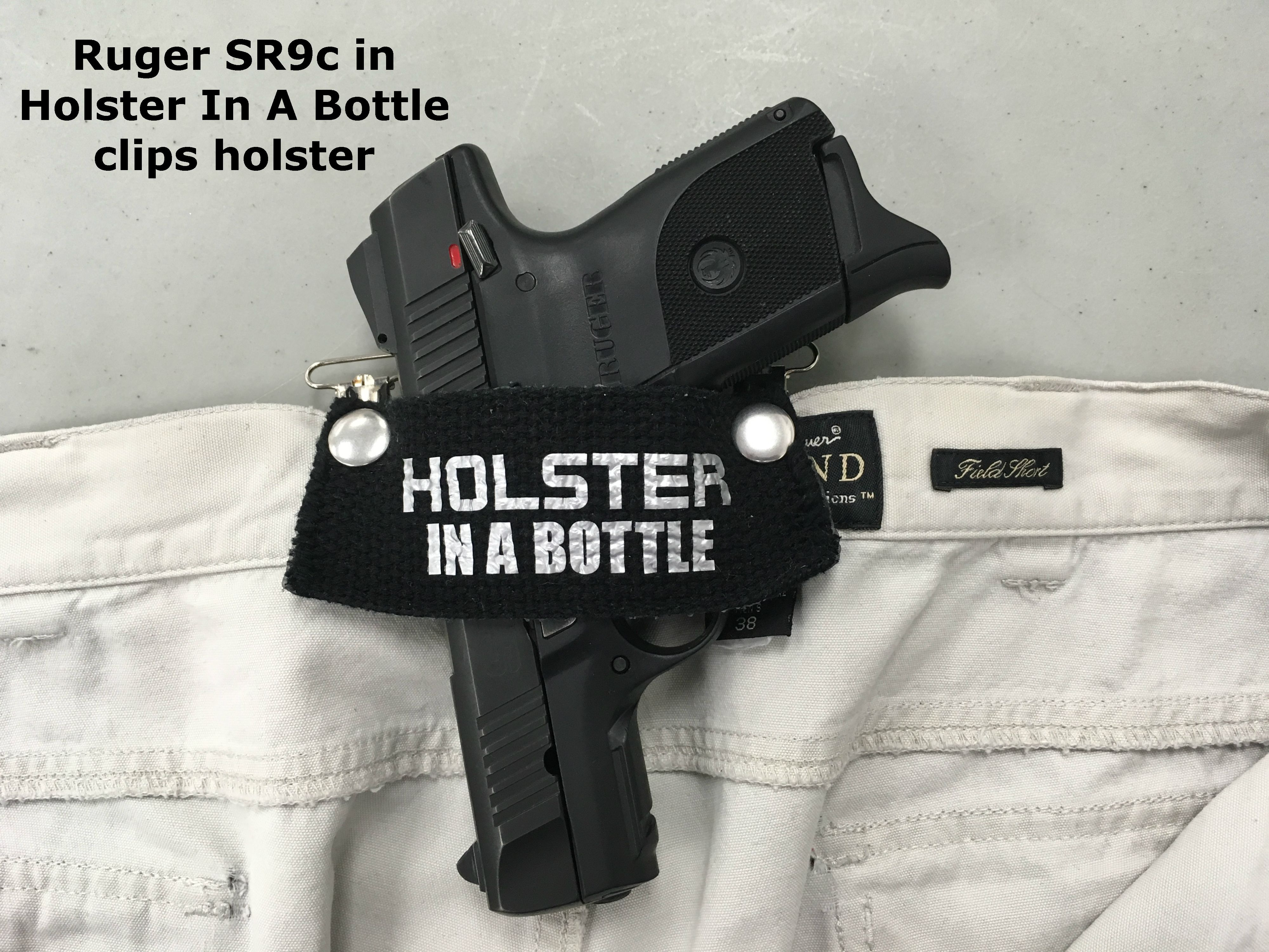 Does the HolsterInABottle com clips style work with     Ruger SR9c