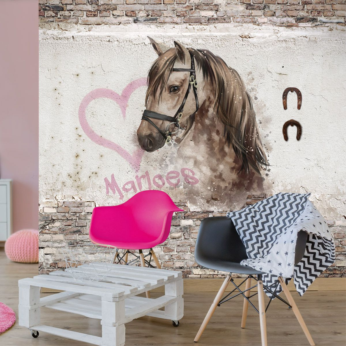 Paarden Behang Posterbehang.Behang Paard Met Eigen Naam Hippeshops Musthaves Kids