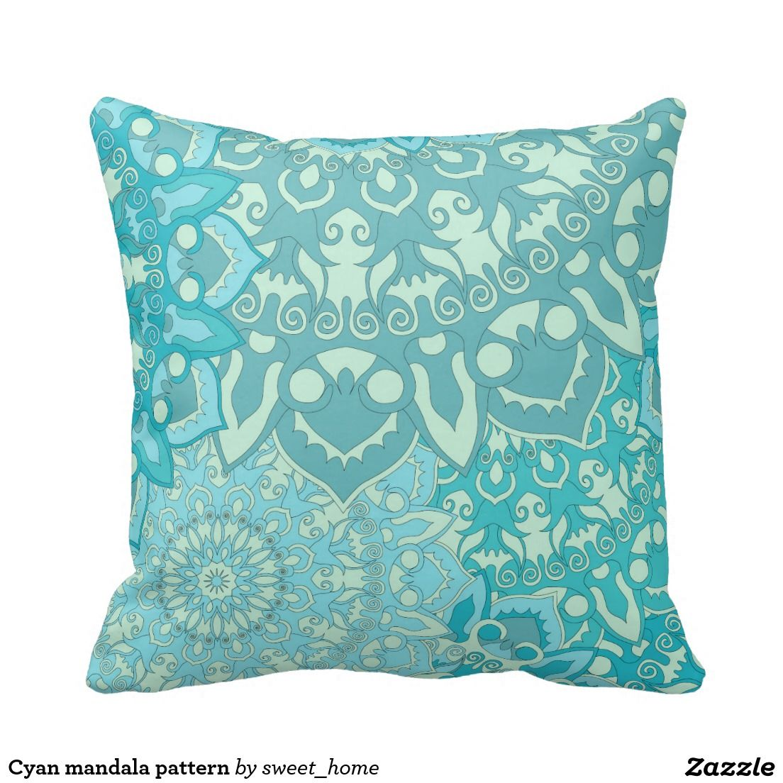 cyan mandala pattern throw pillow | décor room, room interior and