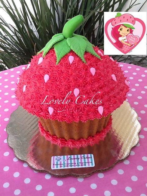 Strawberry Shortcake Giant Cupcake Giant Cupcake Cakes Big Cupcake Large Cupcake Cakes