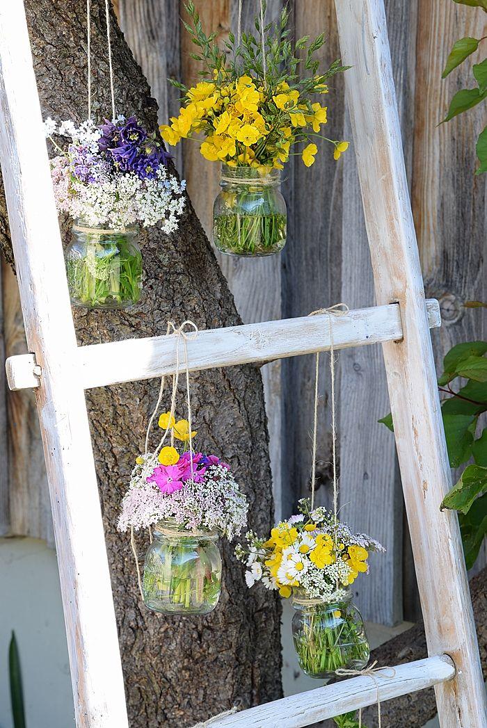 Wiesenzauber auf der dekoleiter mini garden garten wiese i garten deko - Holzleiter dekorieren ...