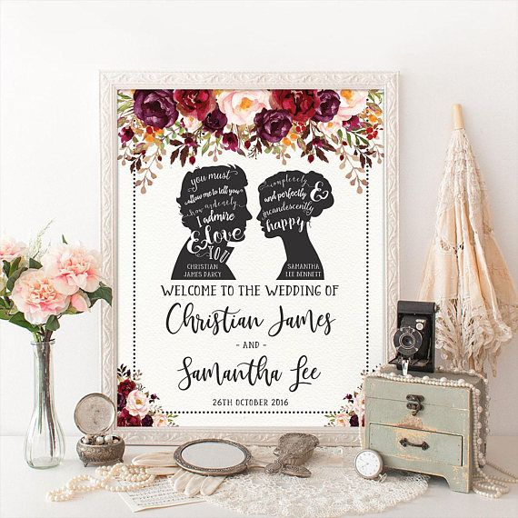 romantic wedding welcome sign vintage jane austen wedding tea party bridal shower decorations autumn fall floral photo booth prop