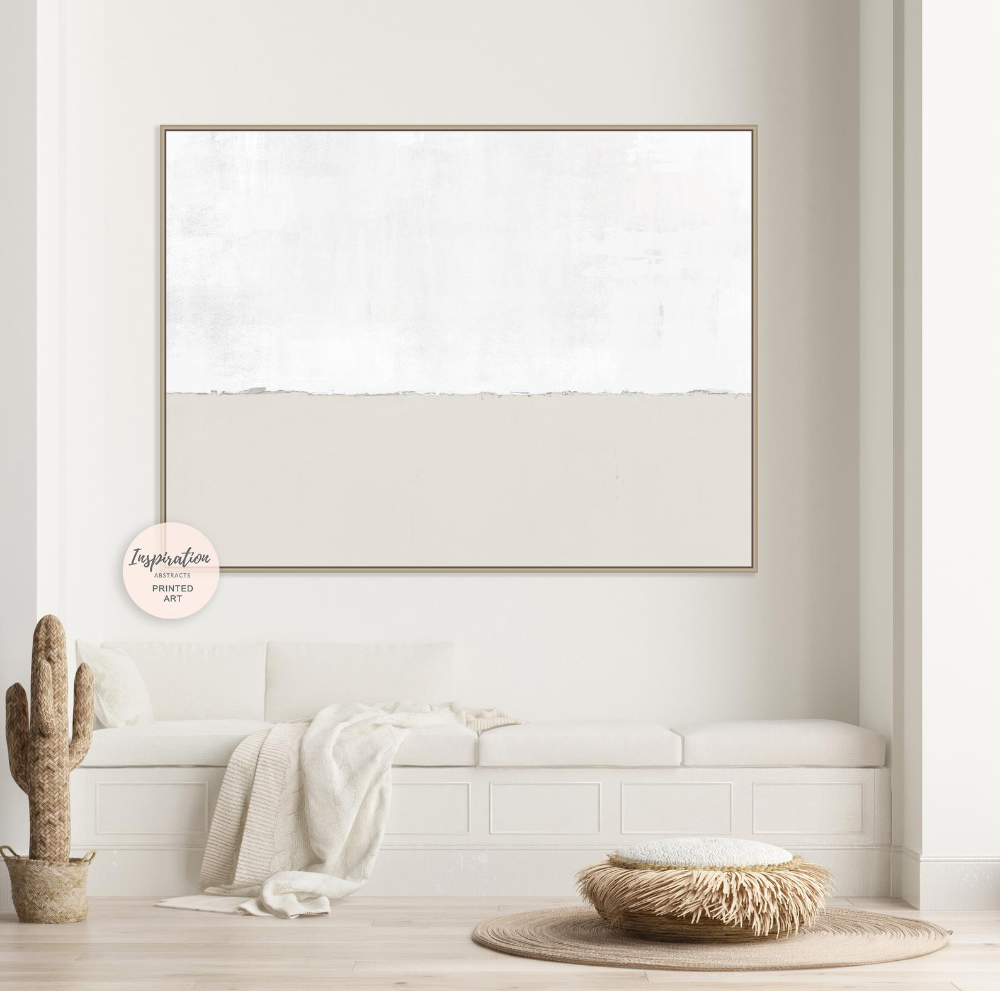 Minimal Beige And White Canvas Wall Art Large Abstract Painting Oversized Wall Art Modern Art Abstract Art Rothko Inspired Large Art Oversized Wall Art White Wall Art Minimalist Painting