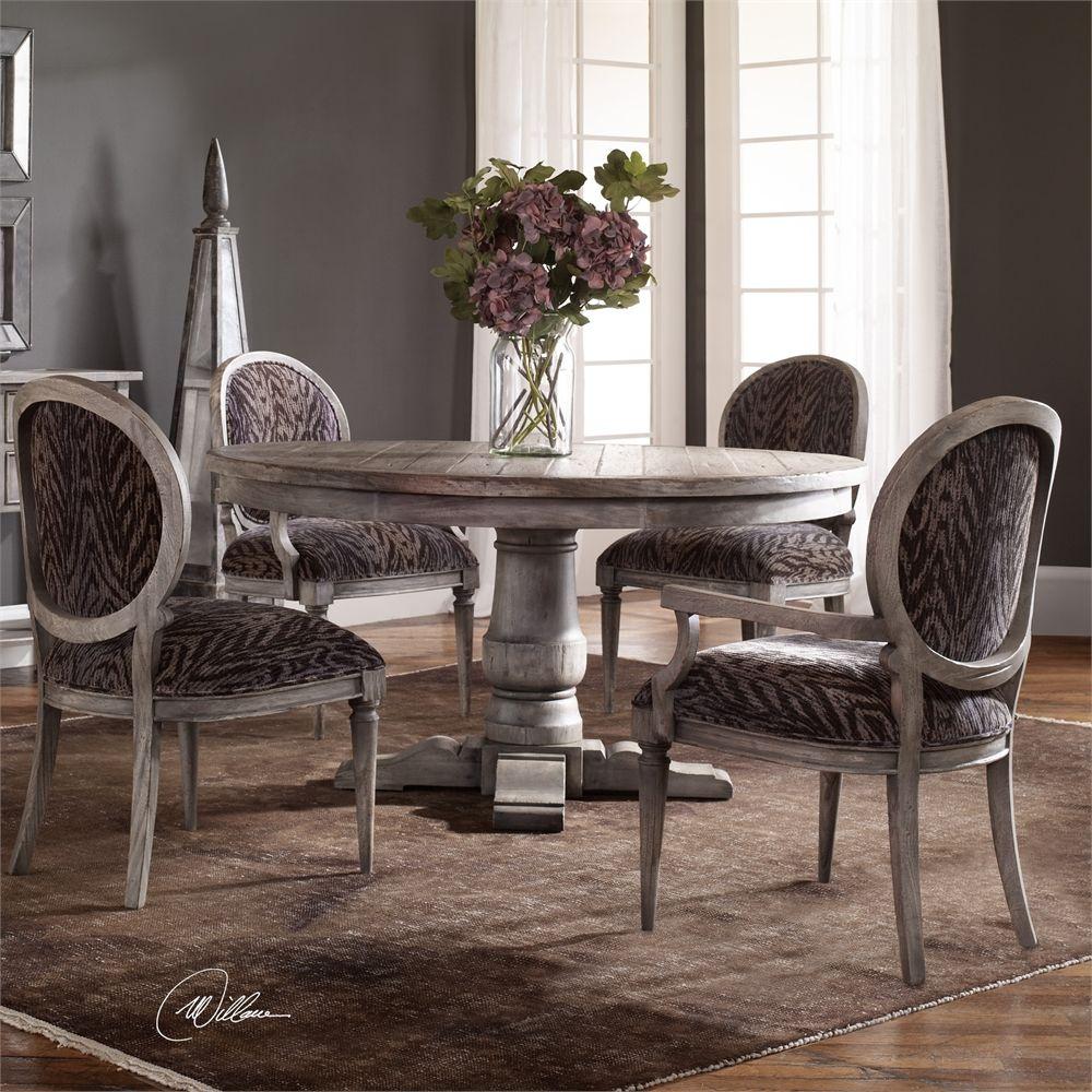 Erzen Dining Table Round Pedestal, Uttermost Dining Room Tables
