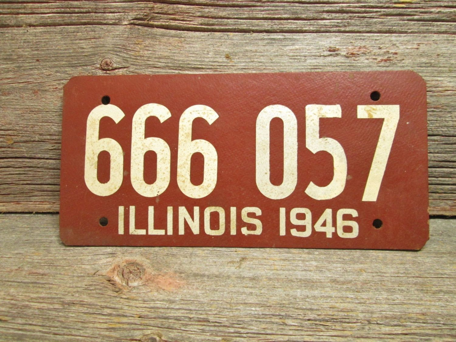 1946 Illinois License Plate Soy Fiber Board Vintage Car Plate 666 ...