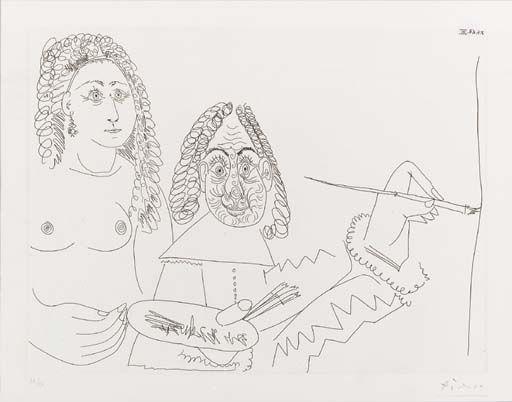 Pablo Picasso, Peintre Rembranesque avec son modèle