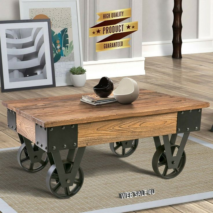 Details about industrial solid wood coffee table rustic