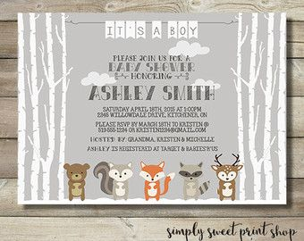woodland animal animals boy birthday party invitation adventure birch tree fox raccoon squirrel deer bear forest nature brown green gray