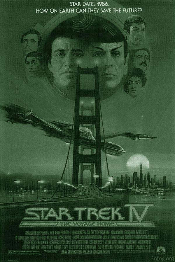 Star Trek IV: THE VOYAGE HOME: Een Amerikaanse Star Trek film uit 1986 van regisseur Leonard Nimoy. Het is de vierde Star Trek film. De hoofdrollen worden gespeeld door William Shatner, Leonard Nimoy en DeForest Kelley. In deze film werd de verhaallijn die begon in Star Trek II: The Wrath of Khan en werd voortgezet in Star Trek III: The Search for Spock afgesloten.