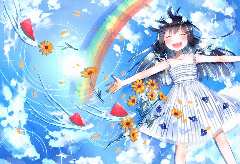 ANIME ART rainbow ♥ water. . .reflection. . .clouds