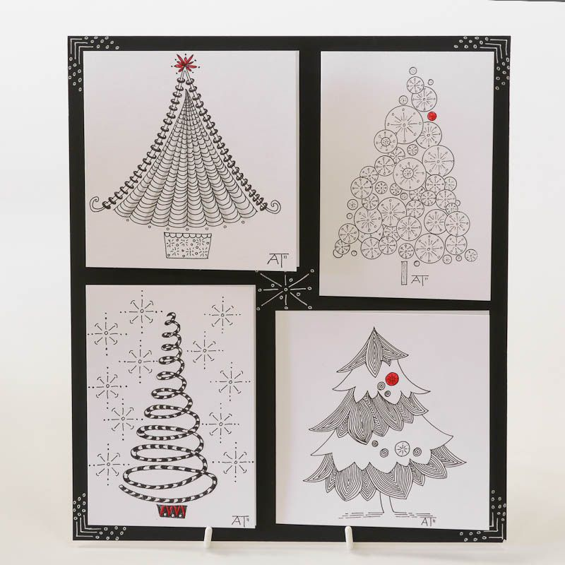 Zentangle Christmas Patterns Sample Designs - Old Hall Crafts - christmas cards sample