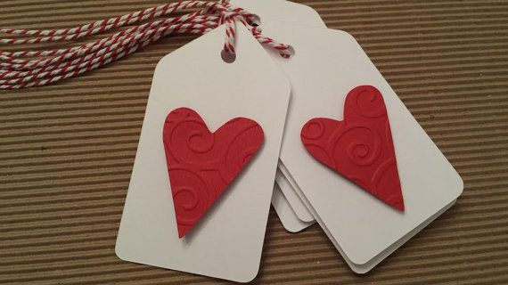 6 Large Heart Tags Valentine Tags Red and White by thingsbyjuju, $3.50