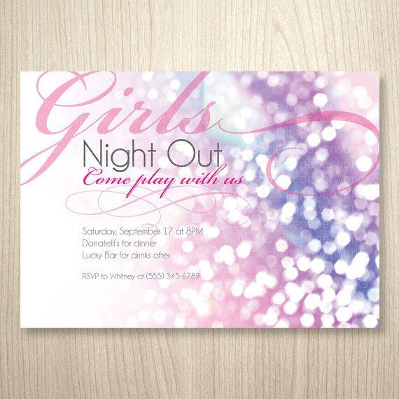 Glitter and Girls Printable Invitation - Bachelorette Party, Girls ...