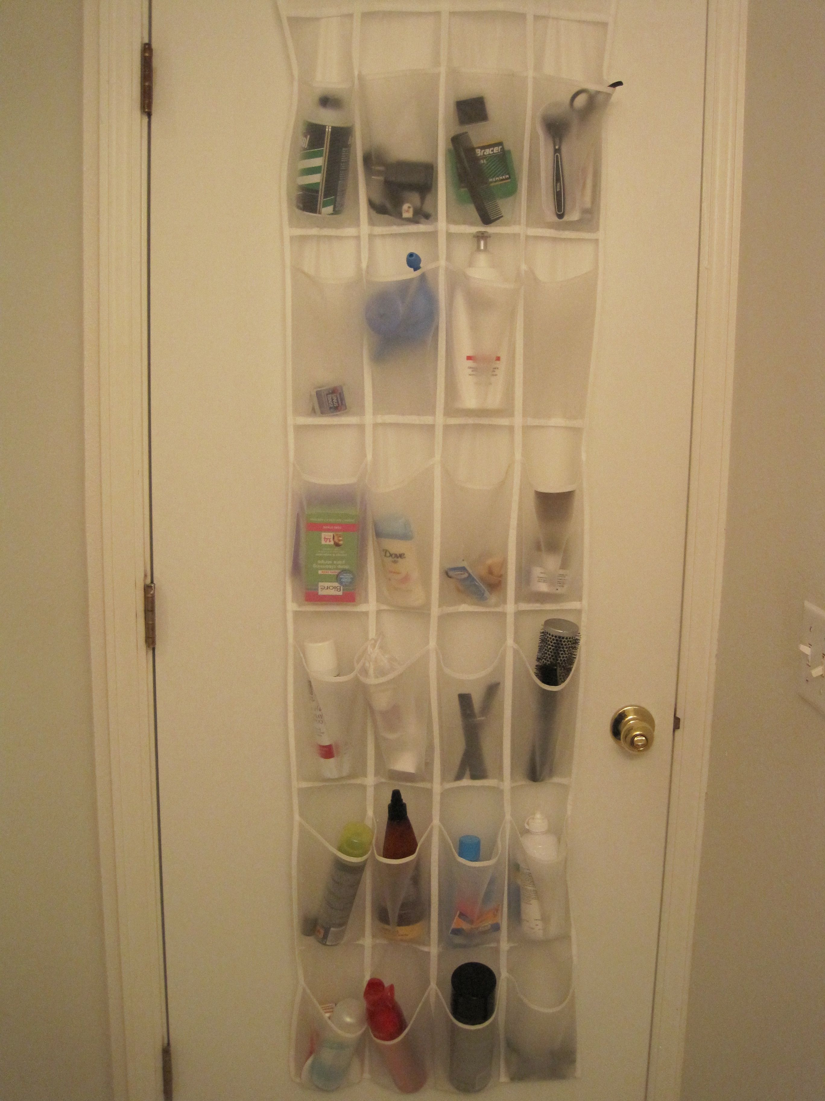 Over The Door Shoe Rack Used As Bathroom Storage Saw This On A