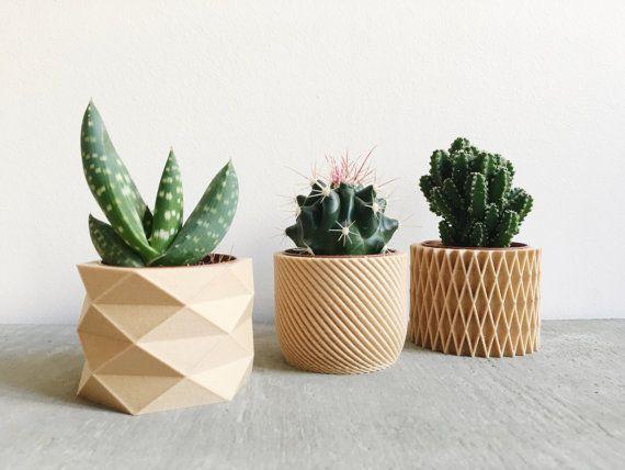 Set De 3 Mini Pots Cache Pots Geometriques Imprimes En Bois
