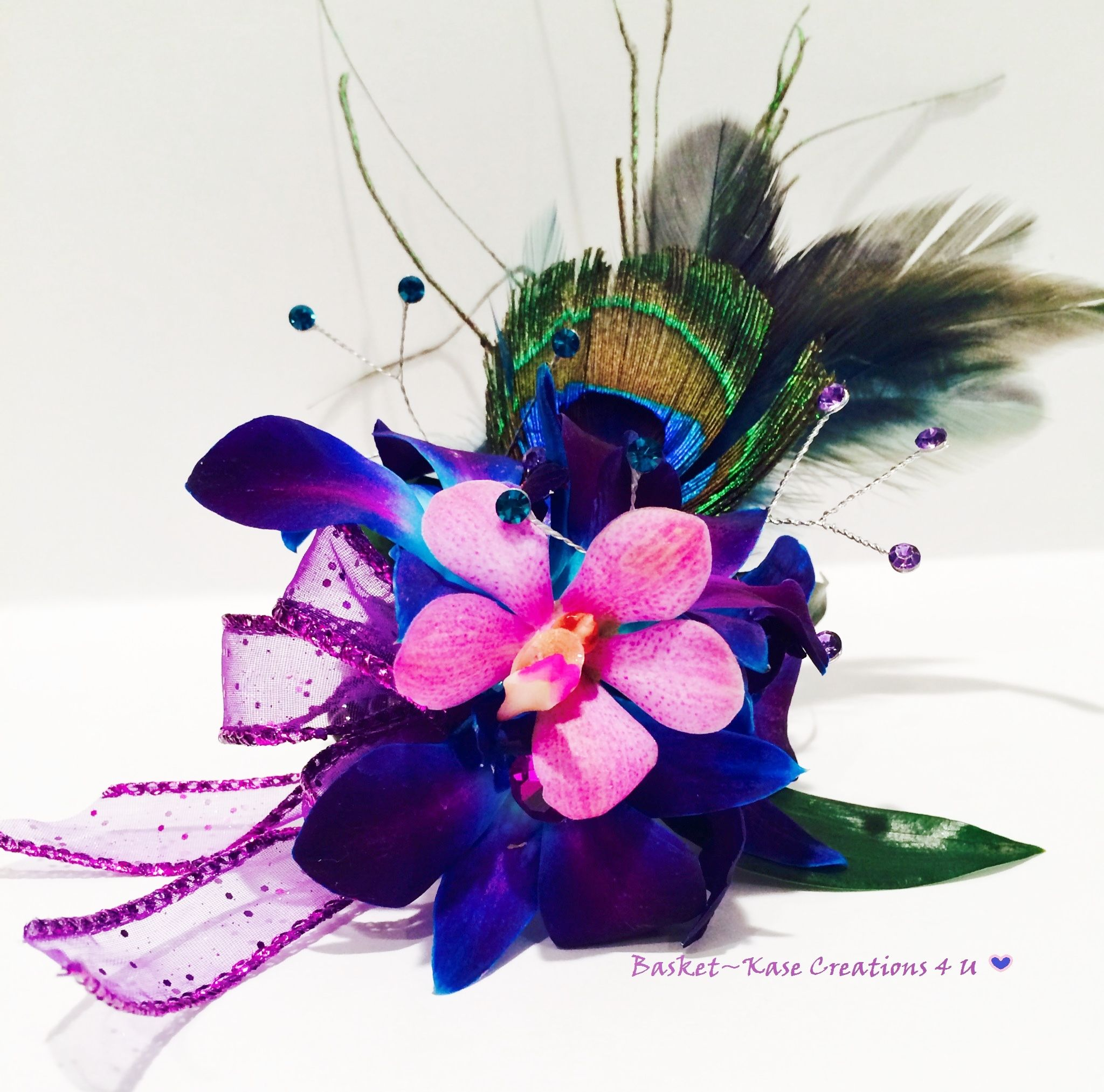 Basket kase creations u wrist corsage dendrobium u mokara orchid