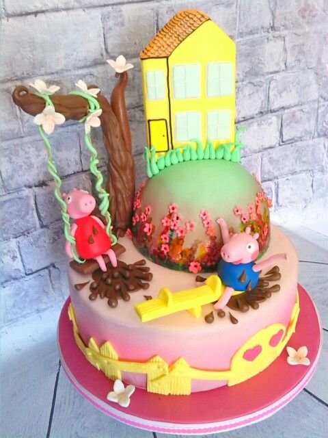 Peppa Cake Peppa And George On Playground Peppas House On The