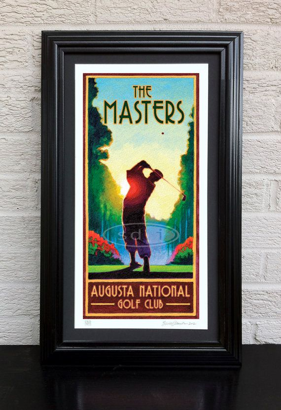Masters Golf art golf gift sports poster print painting | Golf ...
